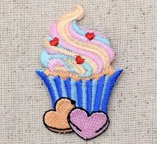 Iron On Embroidered Applique Patch Blue Cupcake with Sweet Heart Candies
