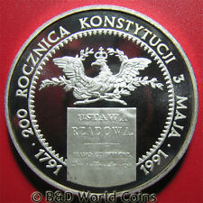 1991 POLAND 200000 ZLOTYCH 1.25oz SILVER PROOF EAGLE POLISH CONSTITUTION 40mm