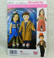 """Simplicity 8111 18"""" Doll Clothes Costume Dr Who TARDIS Designs Sewing Pattern"""