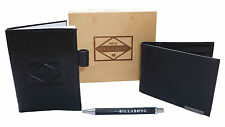 "NEW IN GIFTBOX BILLABONG MENS ""CRYPT"" BLACK GENUINE LEATHER WALLET NOTE PAD +PEN"