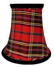Chandelier Shades-Set of 5-Red Plaid Silk