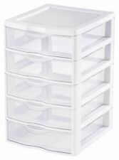 5 Drawer Wide Plastic Tower Cart Storage Sterilite Garage Utility Cabinet New