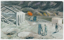 Quay at Dunkirk, Edward Bawden WWII print in 10 x 12 inch mount ready to frame