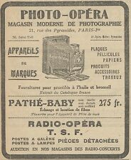 Z9780 PHOTO-OPERA - Pathé Baby -  Pubblicità d'epoca - 1923 Old advertising