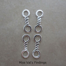 Sterling silver twisted large hole link connector 18mm quantity 4 JBB Findings