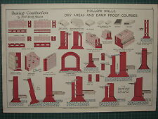 1900 ARCHITECTURAL PRINT ~ HOLLOW WALLS DRY AREA & DAMP PROOF COURSES ALLEN'S