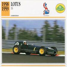1958-1959 LOTUS 16 Racing Classic Car Photo/Info Maxi Card