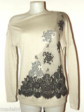 MARCA KORALLINE MAGLIA MISTO LANA SOTTILE MADE IN ITALY TG M STRASS STAMPA TULLE