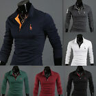 Fashion Mens Casual Polo Shirts Long Sleeve Slim Tee Shirt Stand Collar T-shirts