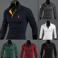 New Men's Slim Fit Long Sleeve Casual Polo Shirt T-shirts Fashion Size XS S M L