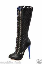 NEW VERSACE BLACK PERFORATED LEATHER PLATFORM BOOTS 39 - 9