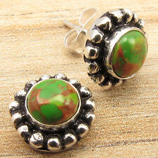 BID START $0.99 !! GREEN COPPER TURQUOISE Gems Studs Earrings, 925 Silver Plated