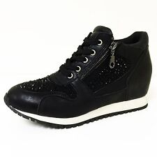 Womens Sneakers High Top Lace Up Rhinestone Zipper Heel Hidden Wedge Boots Sizes