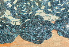 superb BNWT Monsoon skirt UK 12 dark blue metallic roses sequins FREE FAST POST