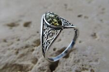 Size 9, Size R 1/2, Size 60, Green, Baltic Amber Ring in Sterling Silver #1225