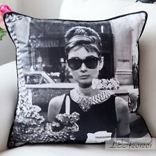 18x18'' Retro Pillow Suede Cushion Cover - Vintage Photograph Audrey Hepburn