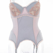 Femme GUEPIERE Sexy overbust Serre Taille Corset Bustier ROSE GRIS 90B VENISE