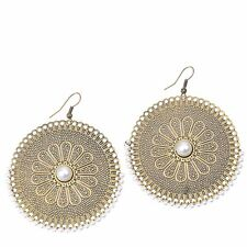 1 Pair Retro National Style Imitation Pearls Bronze Round Pattern Hook Earrings