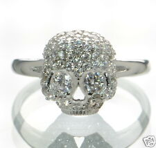 Solid 925 Sterling Silver Skull CZ Ring Sz- 7 '