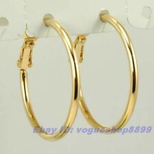 """1.18"""" REAL APOLLONIAN 18K YELLOW GOLD GP HOOP EARRING SOLID FILL ROUND EAR v15"""