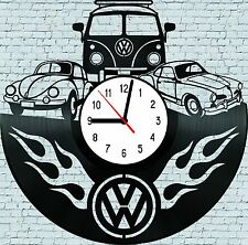 VW Hippy Bus,Beetle,Karmann Ghia.Vinyl LP Wall Clock Art Deco Handmade