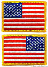 LOT of 2 - AMERICAN FLAG EMBROIDERED PATCH iron-on USA LEFT RIGHT SHOULDER SET