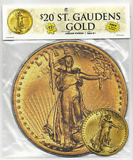 "$20 SAINT GAUDENS GOLD 72 Piece Round Jigsaw Coin Puzzle & 3"" Sticker  #s"