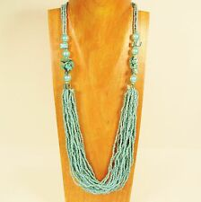 "28"" Turquoise Color Strand Glass Pearl Shell Chip Handmade Seed Bead Necklace"