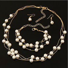 1Set Bridal Sweet Pearl Crystal Necklace Bracelet Earrings Trendy Jewelry Set