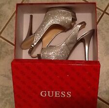Guess Glenisa 2 Womens Size 7.5M Silver Platforms Spike Heels Shoes Worn Once