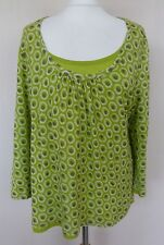 Boden Green Brown Cricle Print Double Layer Jersey Top Plus Size 18 VGC