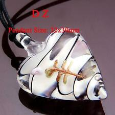g605593 White Heart Flower Art Murano Lampwork Glass Bead Pendant Necklace Cord