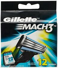 Gillette MACH3 Refills Razor Blades for Men - 12 Cartridges Mach 3 New Shave