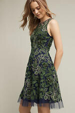 NWT ANTHROPOLOGIE PANKAJ & NIDHI Embroidered Fern Dress sz 14 Green Motif