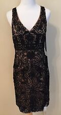 New Sue Wong Soutache V Neck Beaded Cocktail Dress Size 10 $398.00 NWT