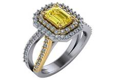 2.01 ct GIA fancy intense yellow VS2 emerald & round diamond halo ring 18k gold