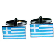 Blue & White Greece Flag Cufflinks With Gift Pouch Greek Country Flags Present