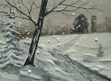 aceo original 'Winter Lane' Conntry art not a print landscape art Joe Wallace