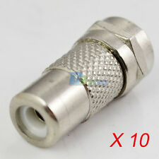 10 x F Type Coaxial Coax Male to RCA Plug Female Adapter Connector Satellite TV