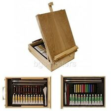 Portable Easel Acrylic Artist Oil Paint Art Set 62 Piece Wood Box Kit Gift New