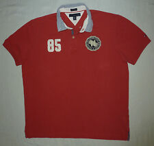 Tommy Hilfiger Men's S/S Custom Fit Polo Shirt Size XL Solid Red 85 Big Crest