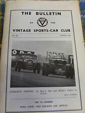 VINTAGE SPORTS-CAR CLUB THE BULLETIN #82 SUMMER 1964 POMEROY TROPHY LE SAG'S ALF