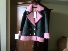 Kenzo  H&M Leather  Coat Jacket With Pink Faux Fur Size S