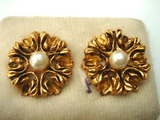 BOUCLE D'OREILLE PERLE CLIPS 2.2 CM VINTAGE 50 NEUVE/OLD NEW STOCK EARRINGS