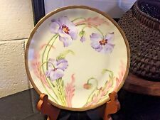 "Elite Limoges France Porcelain 8 1/4"" Cabinet Plate Hand Painted Artist Signed"