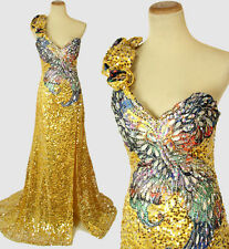 New Genuine Tony Bowls 112754 Gold Evening Pageant Gown Formal Dress Size 0