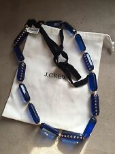 J Crew Bright Blue&pink Crystal Lucite Link Ribbon Tie Necklace! Fabulous Nwt!!!