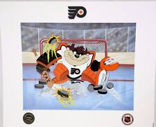 Looney Tunes TAZ WARNER BROS FLYERS Devil of a Save NHL HOCKEY Litho