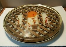 Vtg 70s Acrylic Lucite Lazy Susan with Dried Flowers Wood Lattice