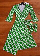New Diane von Furstenberg DVF Vintage Justin Green Chain Link Large Wrap Dress 2